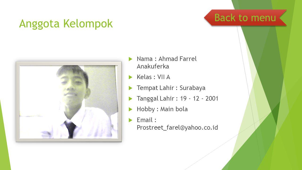 Anggota Kelompok  Nama : Ahmad Farrel Anakuferka  Kelas : VII A  Tempat Lahir : Surabaya  Tanggal Lahir : 19 - 12 - 2001  Hobby : Main bola  Ema