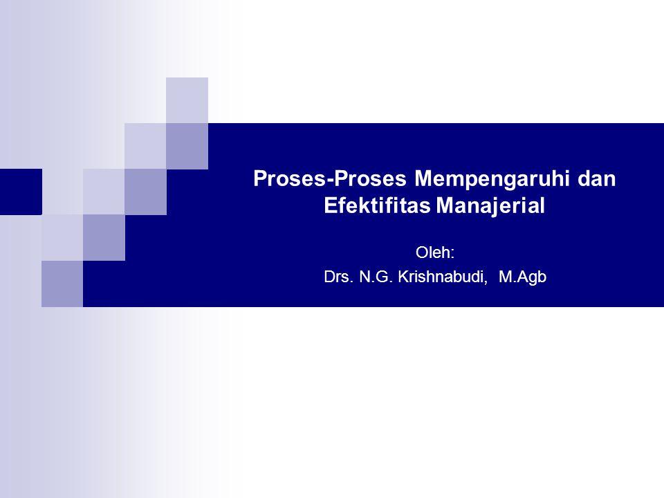 Proses-Proses Mempengaruhi dan Efektifitas Manajerial Oleh: Drs. N.G. Krishnabudi, M.Agb