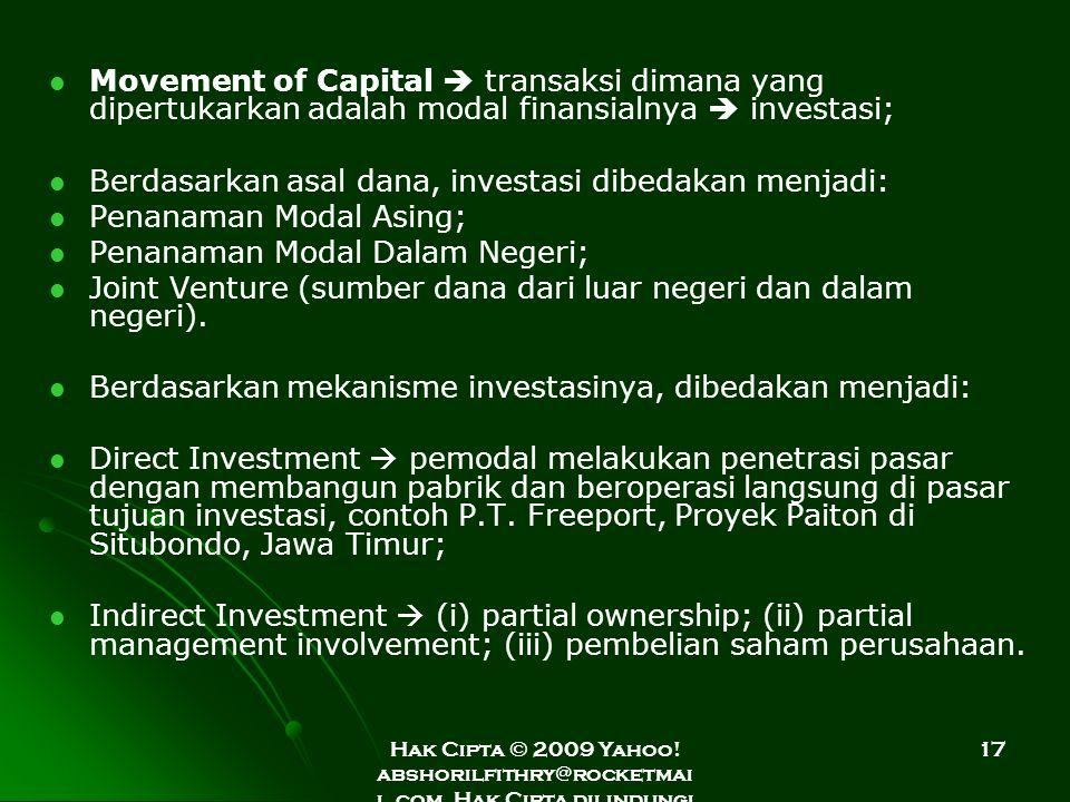 Hak Cipta © 2009 Yahoo! abshorilfithry@rocketmai l.com. Hak Cipta dilindungi Undang-Undang. 17 Movement of Capital  transaksi dimana yang dipertukark