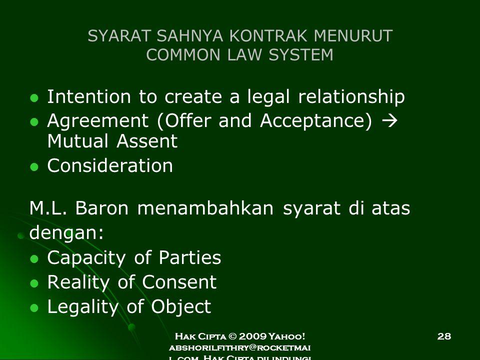 Hak Cipta © 2009 Yahoo! abshorilfithry@rocketmai l.com. Hak Cipta dilindungi Undang-Undang. 28 SYARAT SAHNYA KONTRAK MENURUT COMMON LAW SYSTEM Intenti
