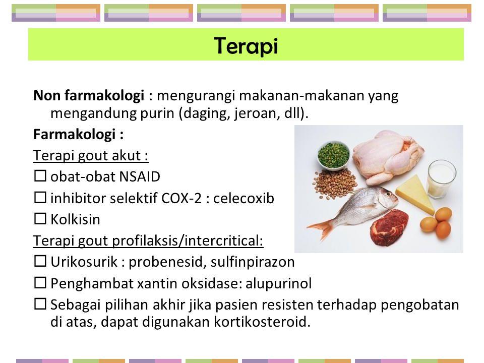 Terapi Non farmakologi : mengurangi makanan-makanan yang mengandung purin (daging, jeroan, dll). Farmakologi : Terapi gout akut :  obat-obat NSAID 