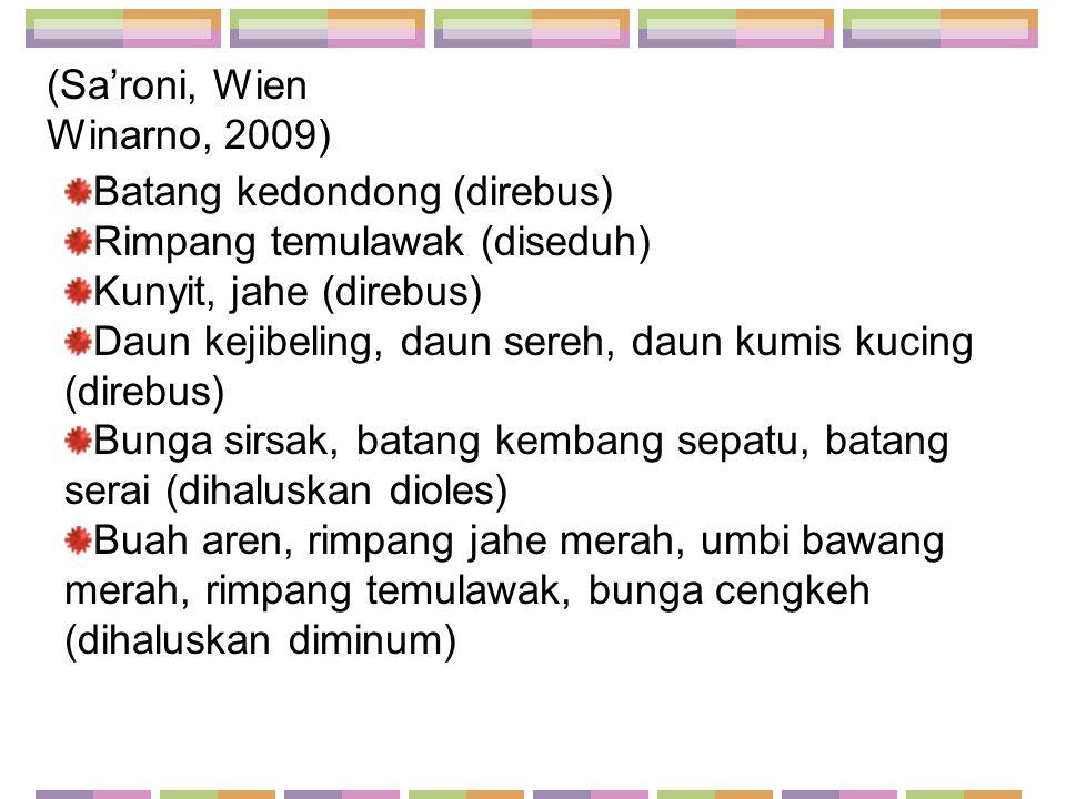 Batang kedondong (direbus) Rimpang temulawak (diseduh) Kunyit, jahe (direbus) Daun kejibeling, daun sereh, daun kumis kucing (direbus) Bunga sirsak, b