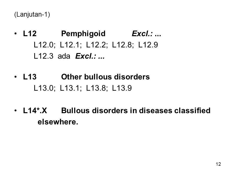 (Lanjutan-1) L12PemphigoidExcl.:...L12.0; L12.1; L12.2; L12.8; L12.9 L12.3 ada Excl.:...