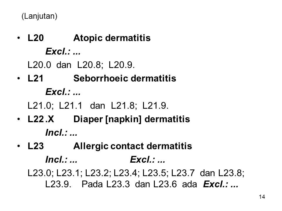 (Lanjutan) L20Atopic dermatitis Excl.:...L20.0 dan L20.8; L20.9.