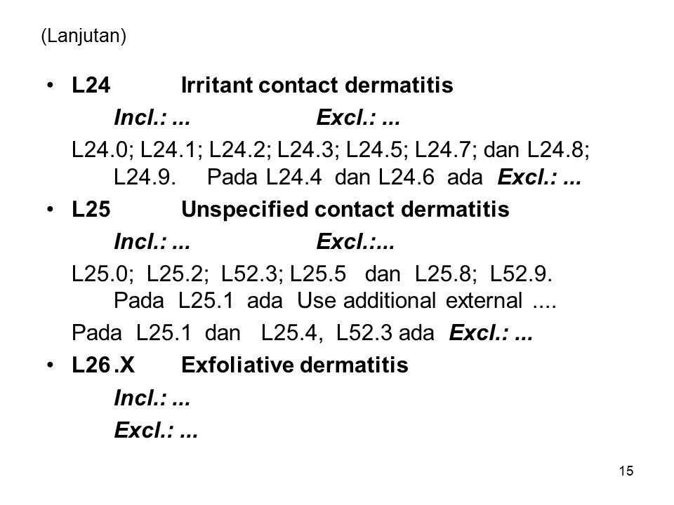 (Lanjutan) L24Irritant contact dermatitis Incl.:...Excl.:...
