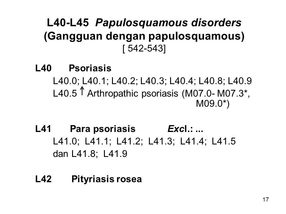 17 L40-L45 Papulosquamous disorders (Gangguan dengan papulosquamous) [ 542-543] L40 Psoriasis L40.0; L40.1; L40.2; L40.3; L40.4; L40.8; L40.9 L40.5 Arthropathic psoriasis (M07.0- M07.3*, M09.0*) L41 Para psoriasisExcl.:...