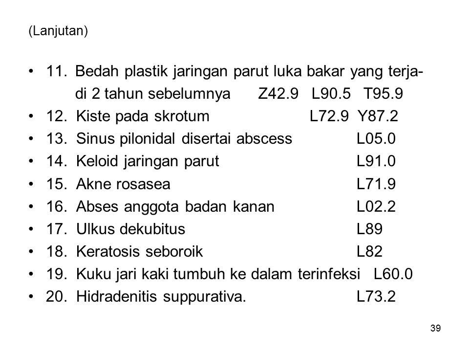 (Lanjutan) 11.Bedah plastik jaringan parut luka bakar yang terja- di 2 tahun sebelumnya Z42.9 L90.5 T95.9 12.