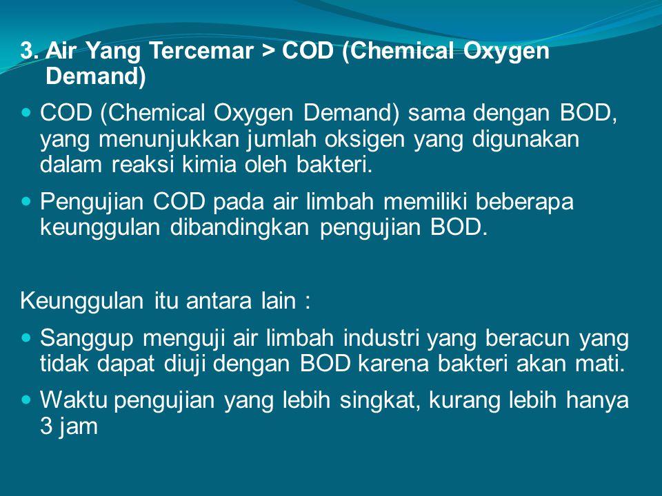 3. Air Yang Tercemar > COD (Chemical Oxygen Demand) COD (Chemical Oxygen Demand) sama dengan BOD, yang menunjukkan jumlah oksigen yang digunakan dalam