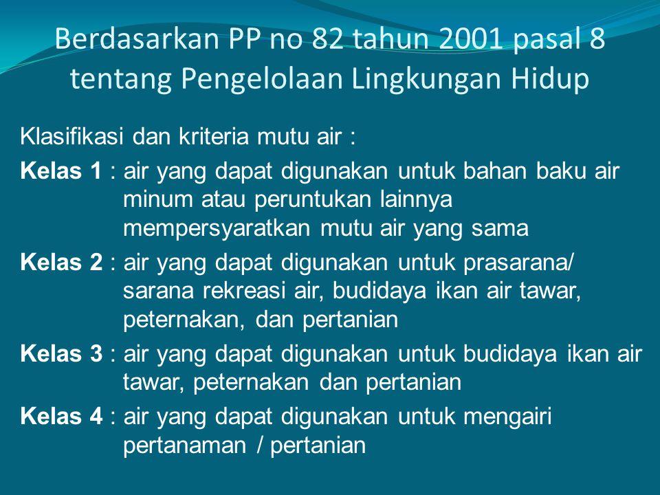 Berdasarkan PP no 82 tahun 2001 pasal 8 tentang Pengelolaan Lingkungan Hidup Klasifikasi dan kriteria mutu air : Kelas 1 : air yang dapat digunakan un