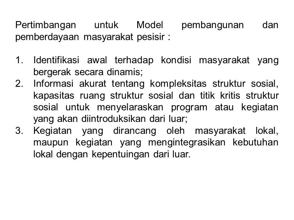 Pertimbangan untuk Model pembangunan dan pemberdayaan masyarakat pesisir : 1. Identifikasi awal terhadap kondisi masyarakat yang bergerak secara dinam