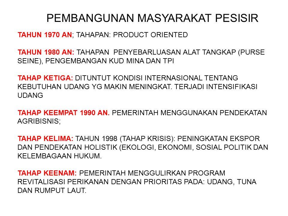 PEMBANGUNAN MASYARAKAT PESISIR TAHUN 1970 AN; TAHAPAN: PRODUCT ORIENTED TAHUN 1980 AN: TAHAPAN PENYEBARLUASAN ALAT TANGKAP (PURSE SEINE), PENGEMBANGAN