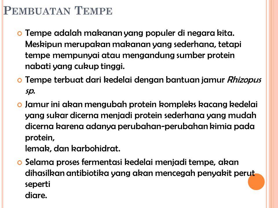 P EMBUATAN T EMPE Tempe adalah makanan yang populer di negara kita. Meskipun merupakan makanan yang sederhana, tetapi tempe mempunyai atau mengandung