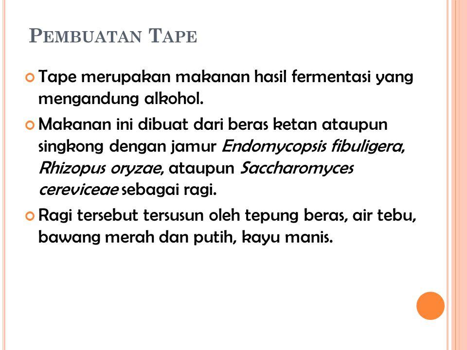 P EMBUATAN T APE Tape merupakan makanan hasil fermentasi yang mengandung alkohol. Makanan ini dibuat dari beras ketan ataupun singkong dengan jamur En