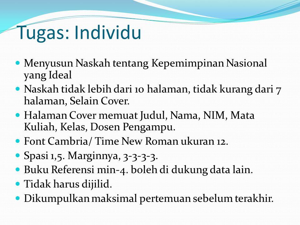 Tugas: Individu Menyusun Naskah tentang Kepemimpinan Nasional yang Ideal Naskah tidak lebih dari 10 halaman, tidak kurang dari 7 halaman, Selain Cover.