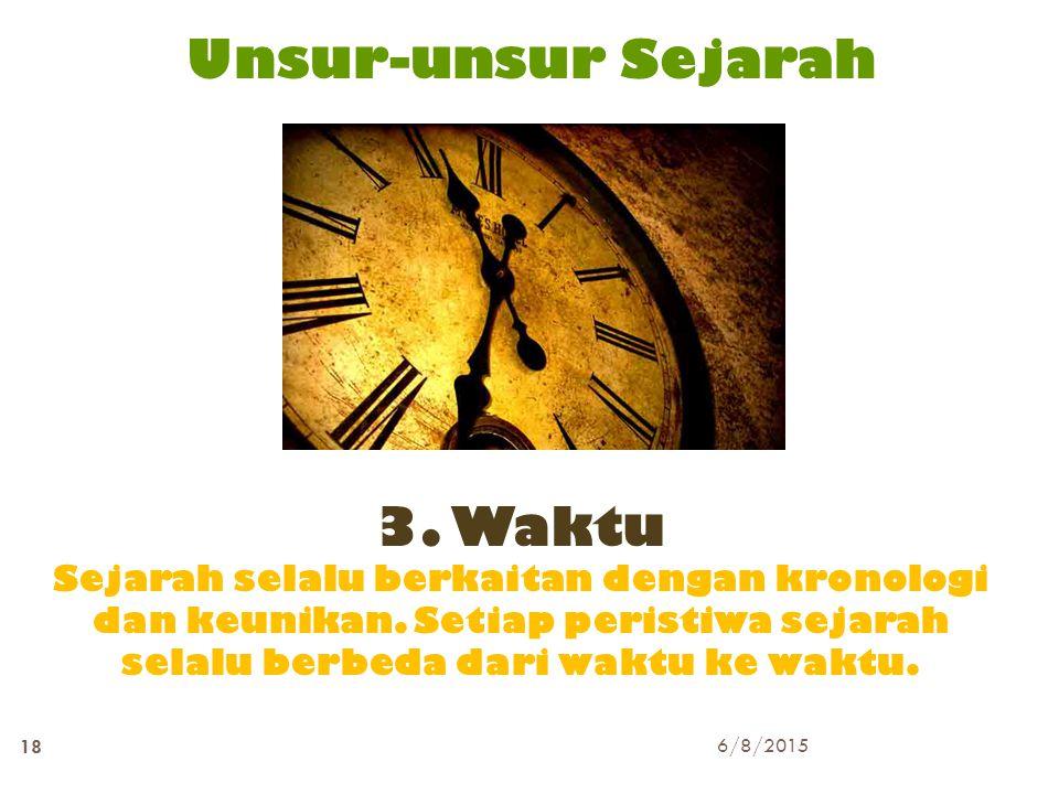Unsur-unsur Sejarah 3. Waktu Sejarah selalu berkaitan dengan kronologi dan keunikan. Setiap peristiwa sejarah selalu berbeda dari waktu ke waktu. 6/8/