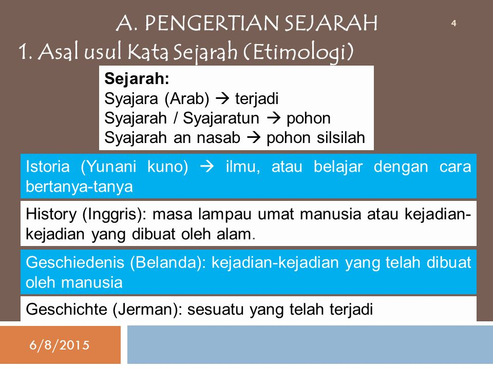 A. PENGERTIAN SEJARAH 1. Asal usul Kata Sejarah (Etimologi) Sejarah: Syajara (Arab)  terjadi Syajarah / Syajaratun  pohon Syajarah an nasab  pohon