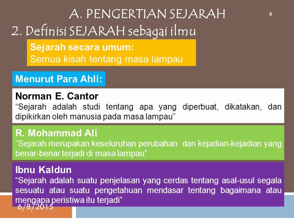 A.PENGERTIAN SEJARAH 2.