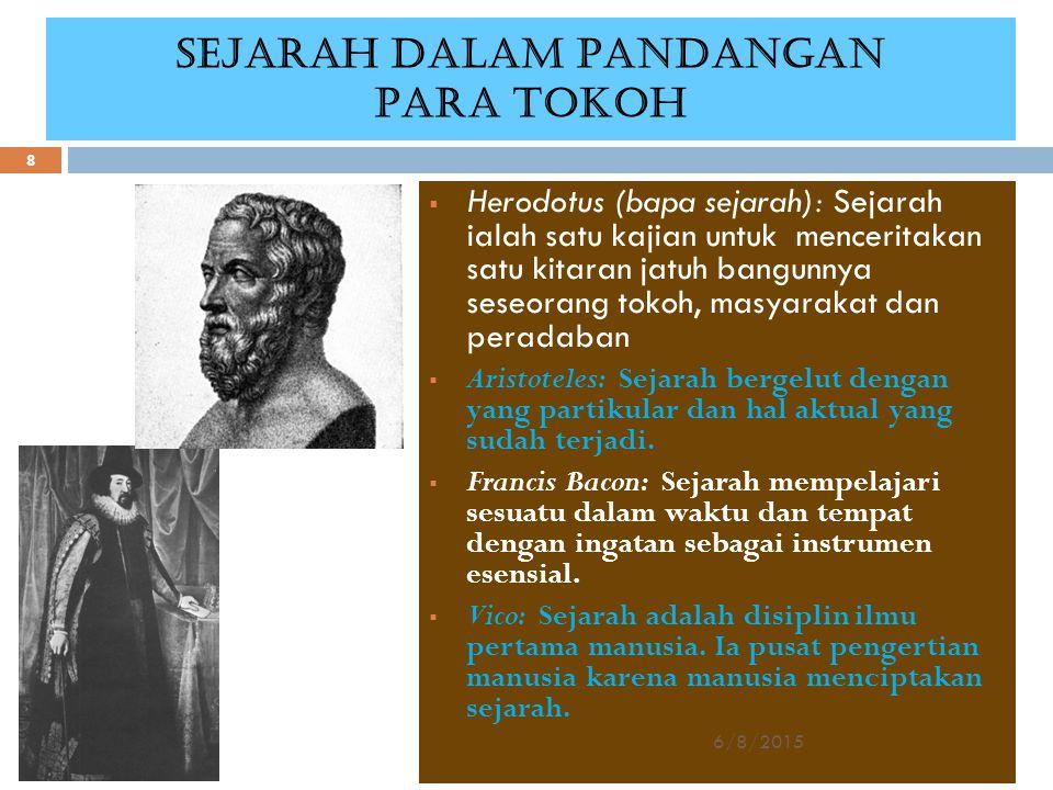 SEJARAH DALAM PANDANGAN PARA TOKOH  Herodotus (bapa sejarah): Sejarah ialah satu kajian untuk menceritakan satu kitaran jatuh bangunnya seseorang tok