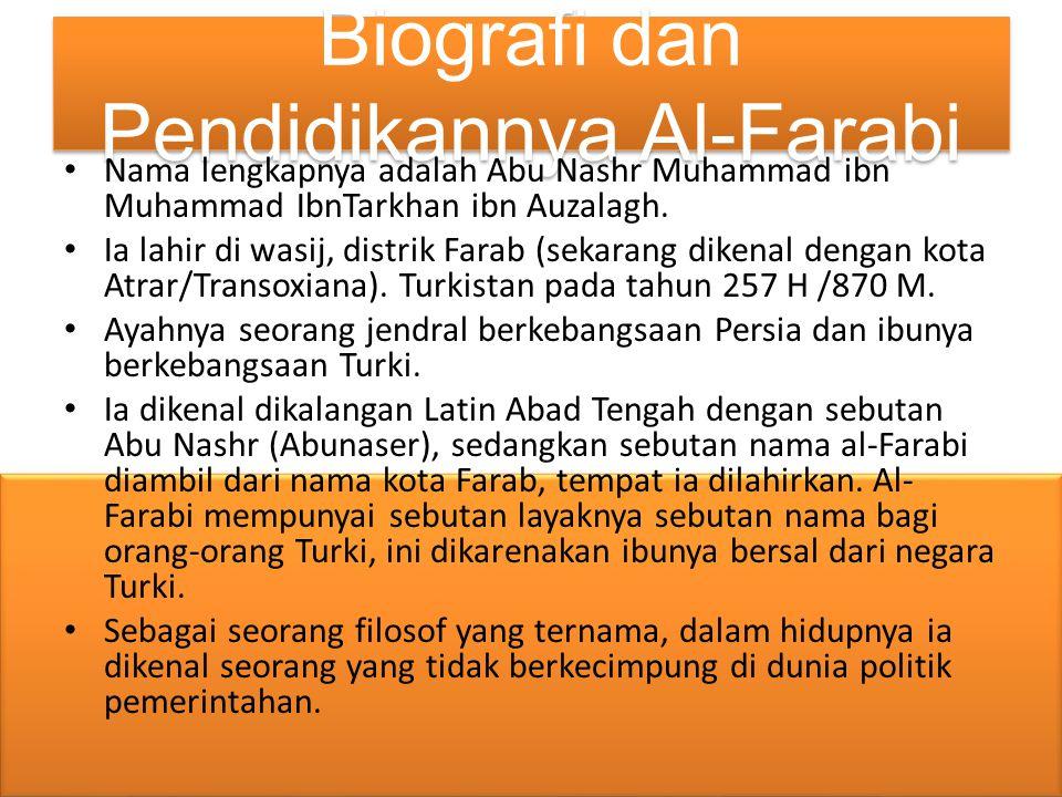 Biografi dan Pendidikannya Al-Farabi Nama lengkapnya adalah Abu Nashr Muhammad ibn Muhammad IbnTarkhan ibn Auzalagh. Ia lahir di wasij, distrik Farab