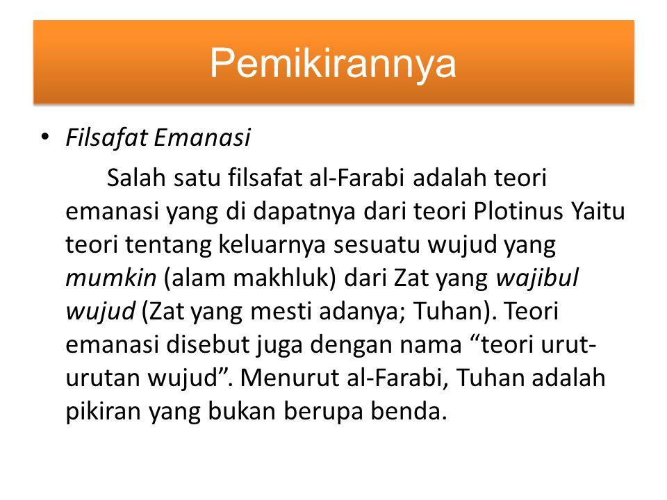 Pemikirannya Filsafat Emanasi Salah satu filsafat al-Farabi adalah teori emanasi yang di dapatnya dari teori Plotinus Yaitu teori tentang keluarnya se