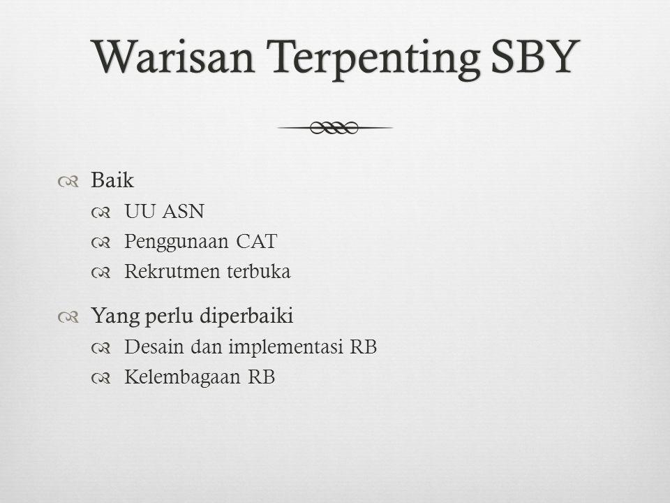 Warisan Terpenting SBYWarisan Terpenting SBY  Baik  UU ASN  Penggunaan CAT  Rekrutmen terbuka  Yang perlu diperbaiki  Desain dan implementasi RB  Kelembagaan RB