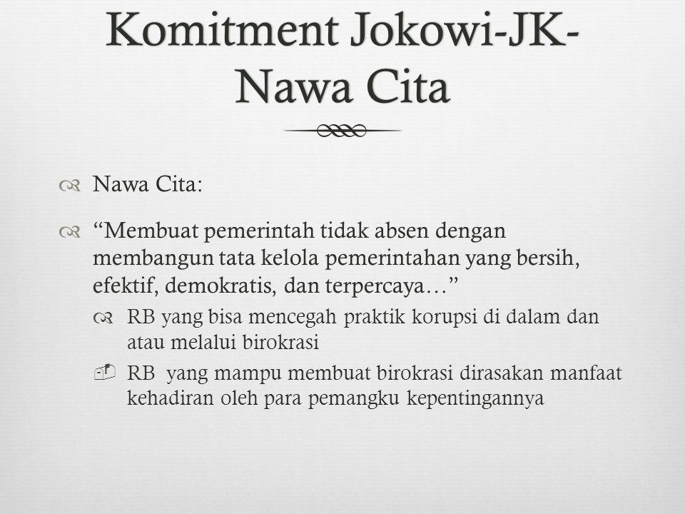 Komitment Jokowi-JK- Nawa Cita  Nawa Cita:  Membuat pemerintah tidak absen dengan membangun tata kelola pemerintahan yang bersih, efektif, demokratis, dan terpercaya…  RB yang bisa mencegah praktik korupsi di dalam dan atau melalui birokrasi  RB yang mampu membuat birokrasi dirasakan manfaat kehadiran oleh para pemangku kepentingannya