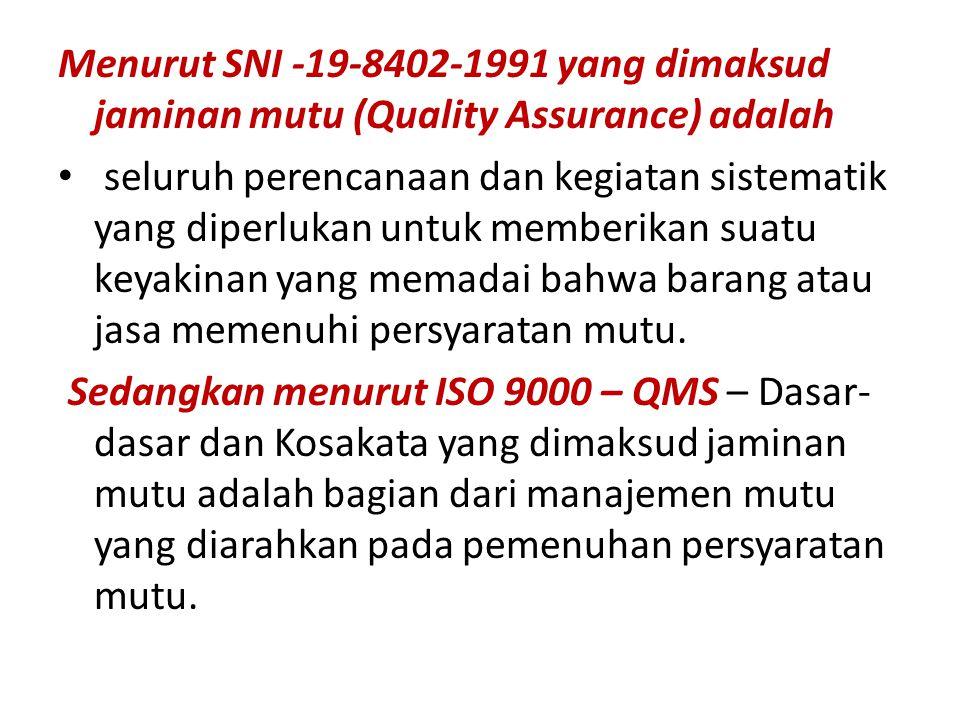 Menurut SNI -19-8402-1991 yang dimaksud jaminan mutu (Quality Assurance) adalah seluruh perencanaan dan kegiatan sistematik yang diperlukan untuk memberikan suatu keyakinan yang memadai bahwa barang atau jasa memenuhi persyaratan mutu.
