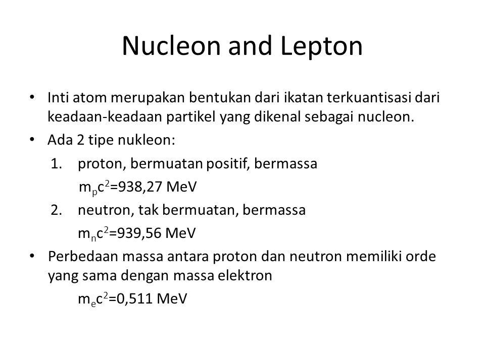 Nucleon and Lepton Inti atom merupakan bentukan dari ikatan terkuantisasi dari keadaan-keadaan partikel yang dikenal sebagai nucleon. Ada 2 tipe nukle