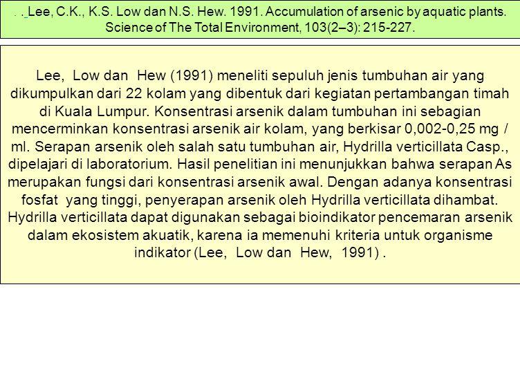 Lee, Low dan Hew (1991) meneliti sepuluh jenis tumbuhan air yang dikumpulkan dari 22 kolam yang dibentuk dari kegiatan pertambangan timah di Kuala Lum