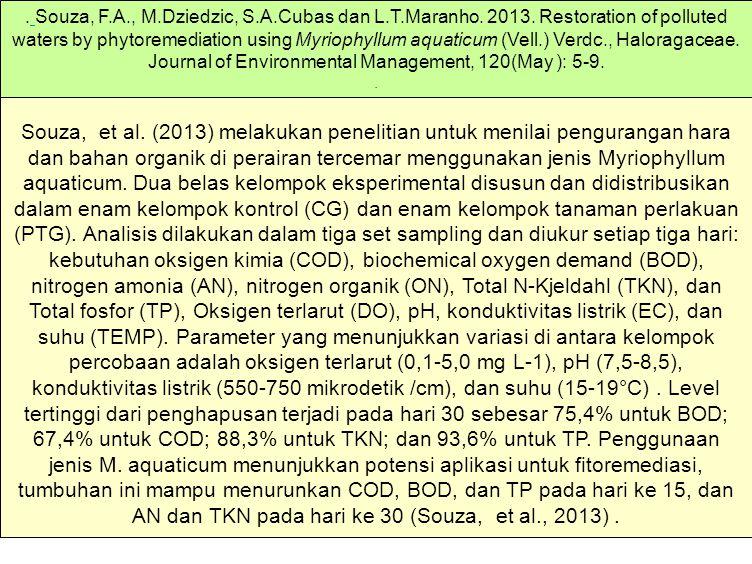 Souza, et al. (2013) melakukan penelitian untuk menilai pengurangan hara dan bahan organik di perairan tercemar menggunakan jenis Myriophyllum aquatic