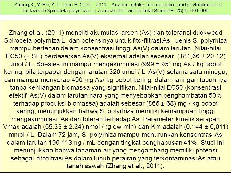 Zhang et al. (2011) meneliti akumulasi arsen (As) dan toleransi duckweed Spirodela polyrhiza L. dan potensinya untuk fito-filtrasi As. Jenis S. polyrh