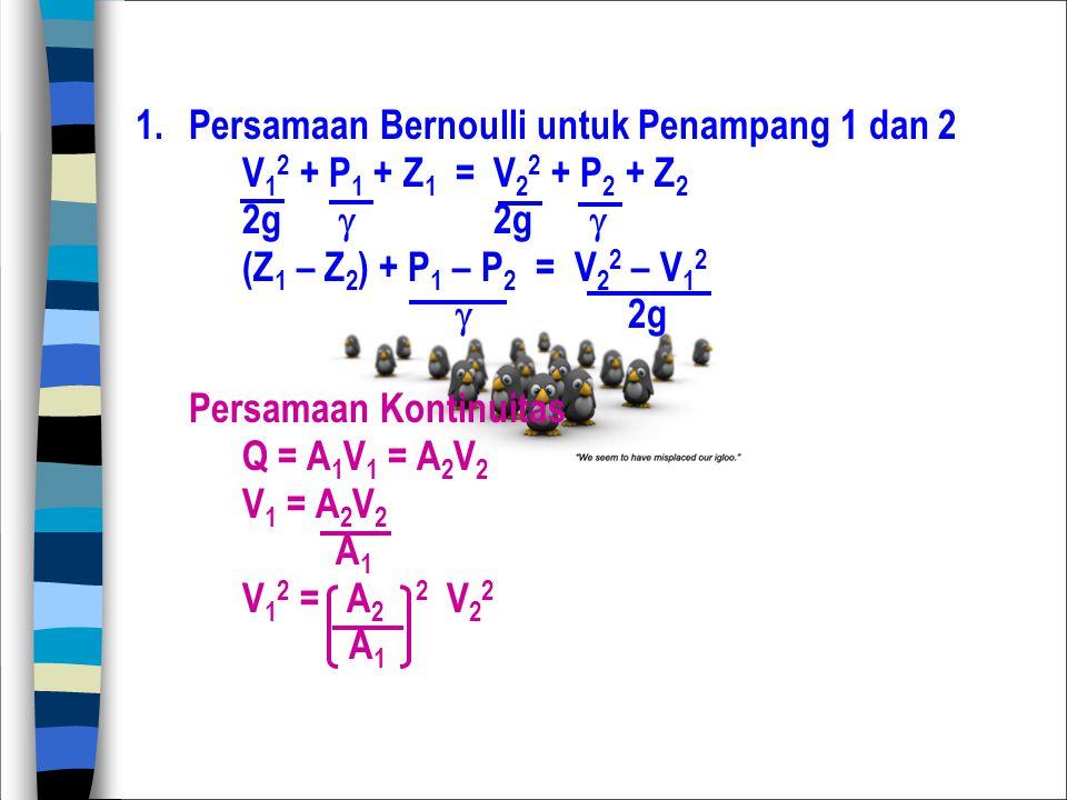 1. Persamaan Bernoulli untuk Penampang 1 dan 2 V 1 2 + P 1 + Z 1 = V 2 2 + P 2 + Z 2 2g  (Z 1 – Z 2 ) + P 1 – P 2 = V 2 2 – V 1 2  2g Persamaan Kont