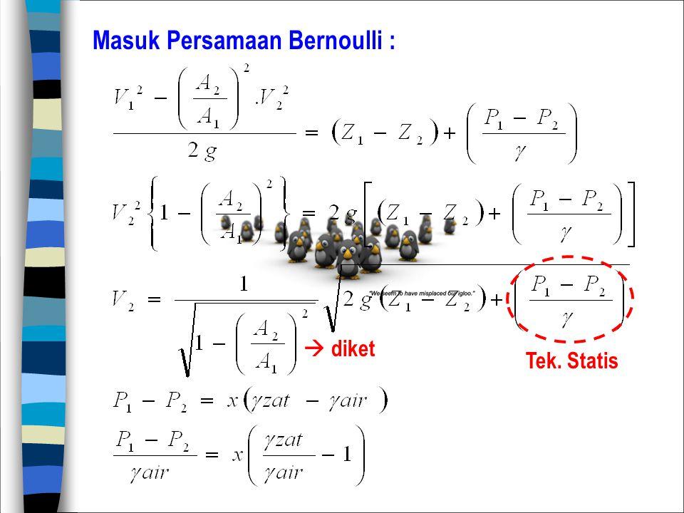 Masuk Persamaan Bernoulli :  diket Tek. Statis