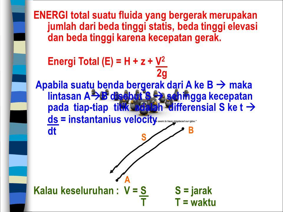 ENERGI total suatu fluida yang bergerak merupakan jumlah dari beda tinggi statis, beda tinggi elevasi dan beda tinggi karena kecepatan gerak. Energi T