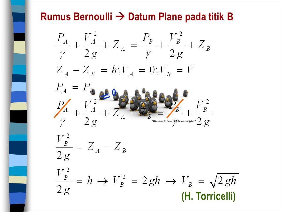 Rumus Bernoulli  Datum Plane pada titik B 0 (H. Torricelli)