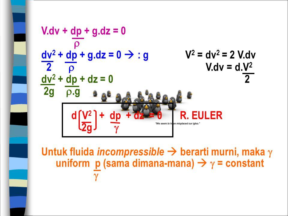 V.dv + dp + g.dz = 0  dv 2 + dp + g.dz = 0  : gV 2 = dv 2 = 2 V.dv 2  V.dv = d.V 2 dv 2 + dp + dz = 0 2 2g .g d V 2 + dp + dz = 0 R. EULER 2g  Un