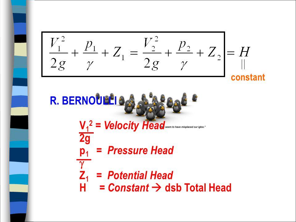 constant R. BERNOULLI V 1 2 = Velocity Head 2g p 1 = Pressure Head  Z 1 = Potential Head H = Constant  dsb Total Head