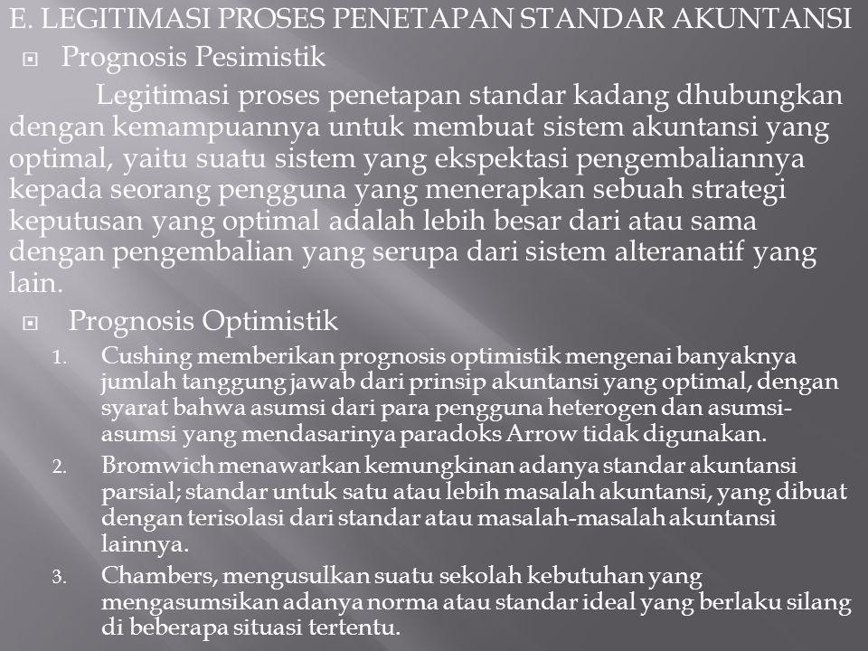 E. LEGITIMASI PROSES PENETAPAN STANDAR AKUNTANSI  Prognosis Pesimistik Legitimasi proses penetapan standar kadang dhubungkan dengan kemampuannya untu