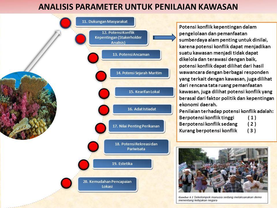 12. Potensi Konflik Kepentingan (Stakerholder Analisis) Potensi konflik kepentingan dalam pengelolaan dan pemanfaatan sumberdaya alam penting untuk di