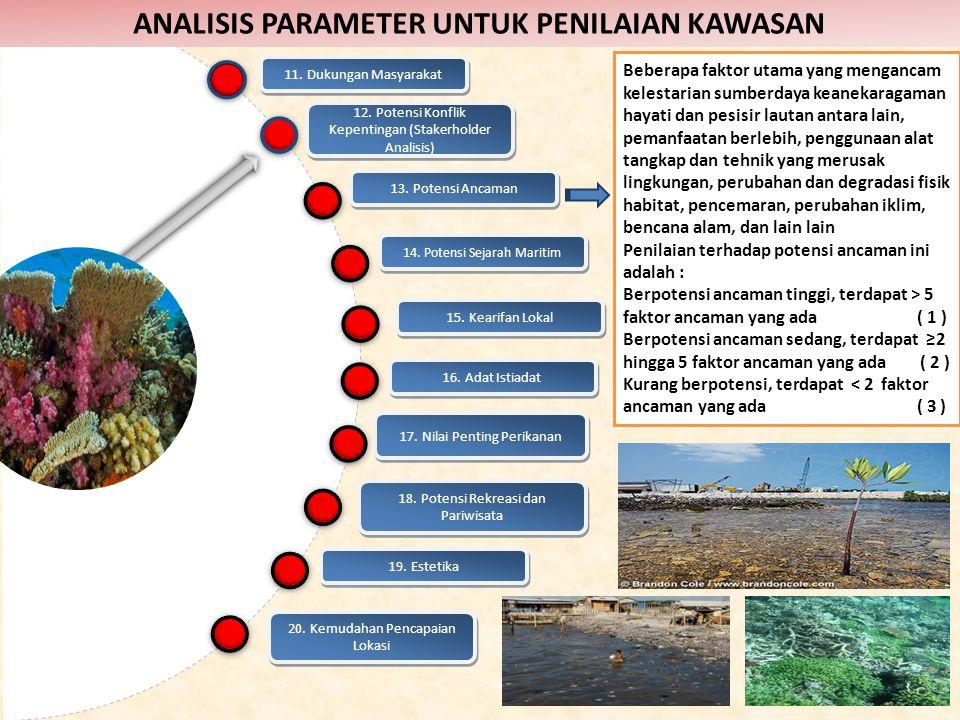 13. Potensi Ancaman Beberapa faktor utama yang mengancam kelestarian sumberdaya keanekaragaman hayati dan pesisir lautan antara lain, pemanfaatan berl