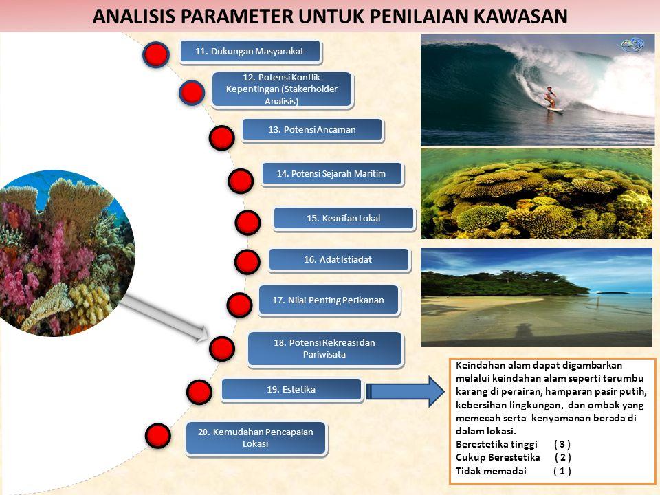 19. Estetika Keindahan alam dapat digambarkan melalui keindahan alam seperti terumbu karang di perairan, hamparan pasir putih, kebersihan lingkungan,