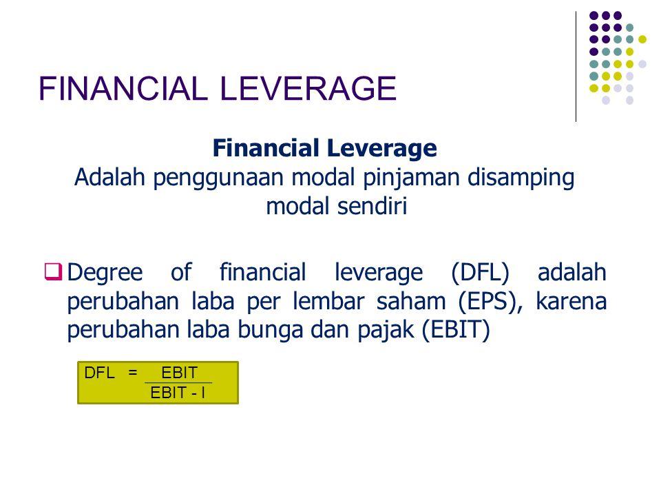FINANCIAL LEVERAGE Financial Leverage Adalah penggunaan modal pinjaman disamping modal sendiri  Degree of financial leverage (DFL) adalah perubahan l
