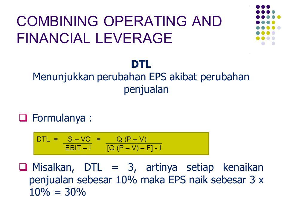 COMBINING OPERATING AND FINANCIAL LEVERAGE DTL Menunjukkan perubahan EPS akibat perubahan penjualan  Formulanya :  Misalkan, DTL = 3, artinya setiap