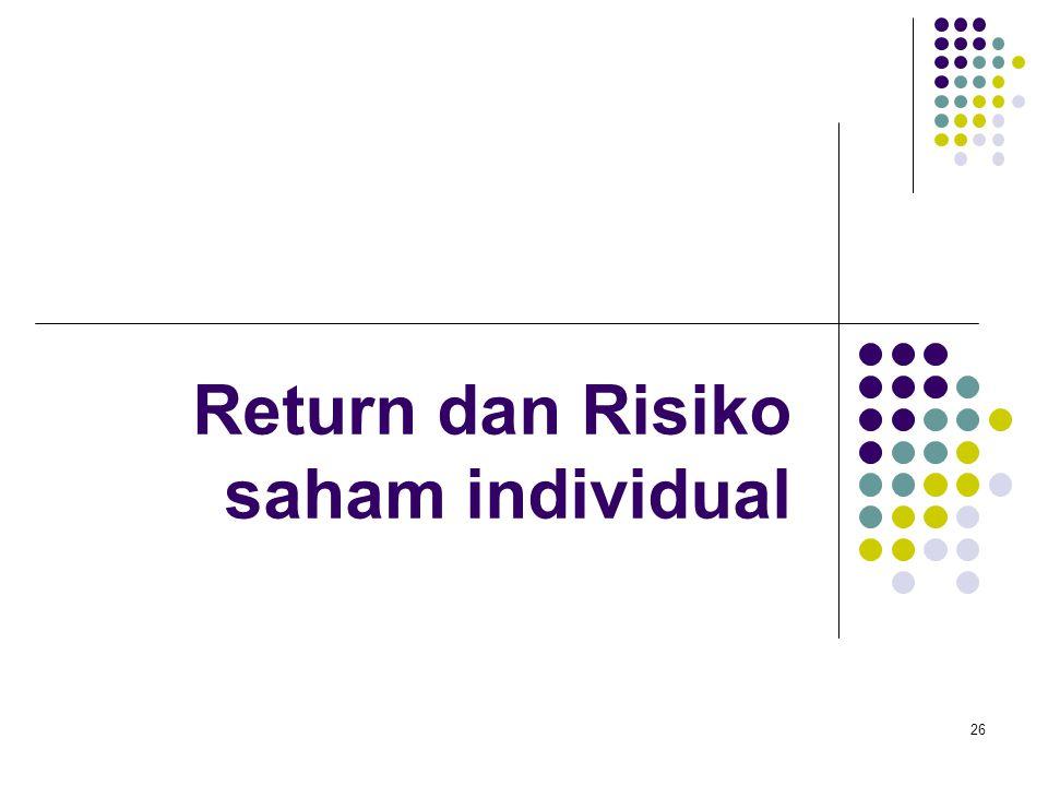 26 Return dan Risiko saham individual