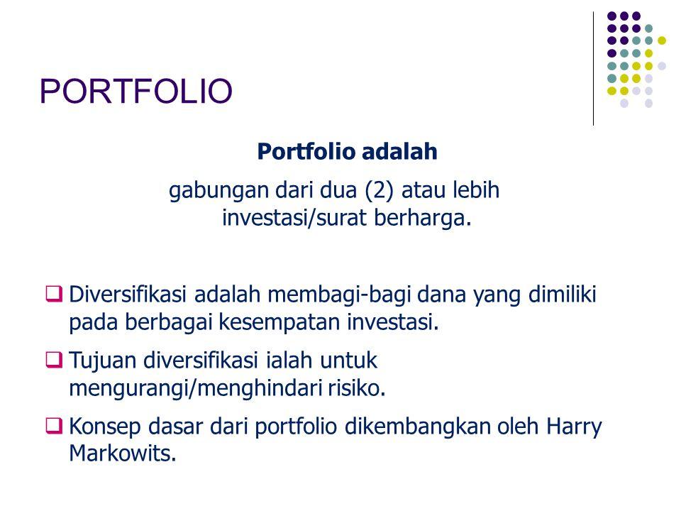 PORTFOLIO Portfolio adalah gabungan dari dua (2) atau lebih investasi/surat berharga.  Diversifikasi adalah membagi-bagi dana yang dimiliki pada berb