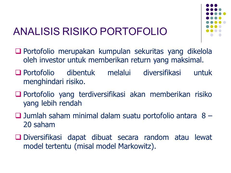 ANALISIS RISIKO PORTOFOLIO  Portofolio merupakan kumpulan sekuritas yang dikelola oleh investor untuk memberikan return yang maksimal.  Portofolio d