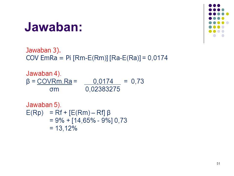 51 Jawaban: Jawaban 3). COV EmRa = Pi [Rm-E(Rm)] [Ra-E(Ra)] = 0,0174 Jawaban 4). β = COVRm.Ra = 0,0174 = 0,73 σm 0,02383275 Jawaban 5). E(Rp)= Rf + [E