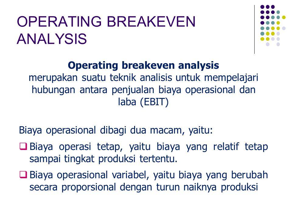 OPERATING BREAKEVEN ANALYSIS Operating breakeven analysis merupakan suatu teknik analisis untuk mempelajari hubungan antara penjualan biaya operasiona
