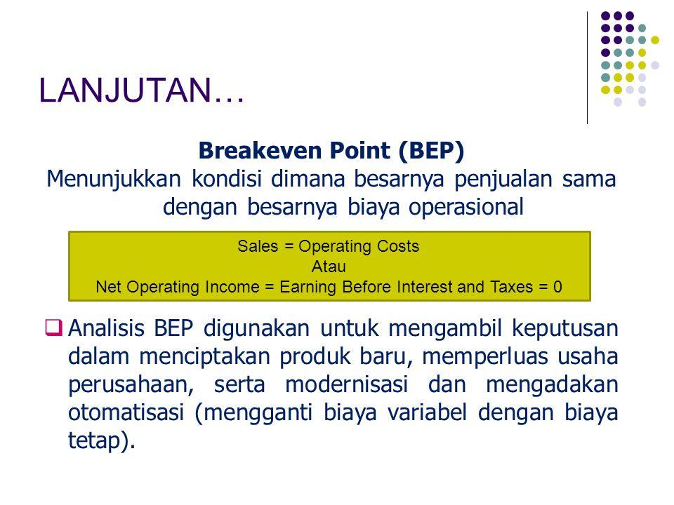 LANJUTAN… Breakeven Point (BEP) Menunjukkan kondisi dimana besarnya penjualan sama dengan besarnya biaya operasional  Analisis BEP digunakan untuk me