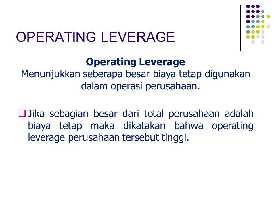 OPERATING LEVERAGE Operating Leverage Menunjukkan seberapa besar biaya tetap digunakan dalam operasi perusahaan.  Jika sebagian besar dari total peru